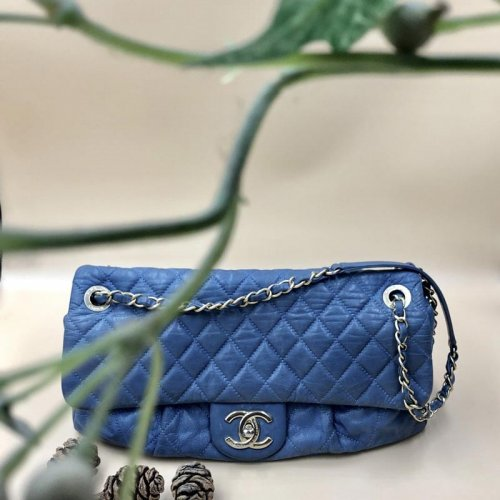 ab2a224ebad5 Chanel Blue Lambskin Flap Bag with Antique Gold Hardware